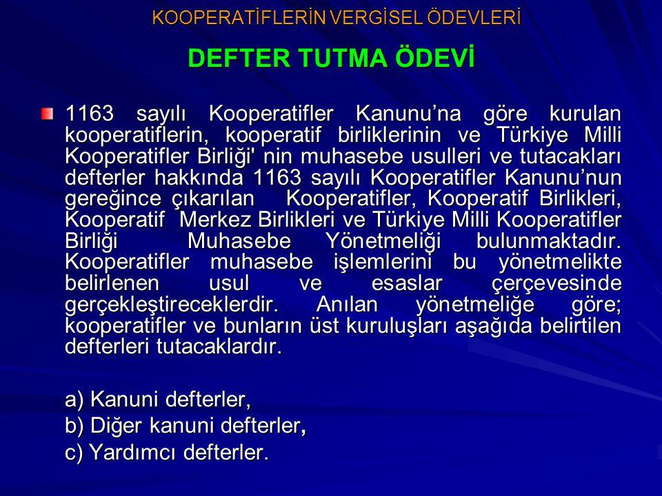 KOOPERATİFLERİN VERGİSEL ÖDEVLERİ KOOPERATİFLERİN VERGİSEL ÖDEVLERİ DEFTER TUTMA ÖDEVİ 1163 sayılı Kooperatifler Kanunu'na göre kurulan kooperatifleri