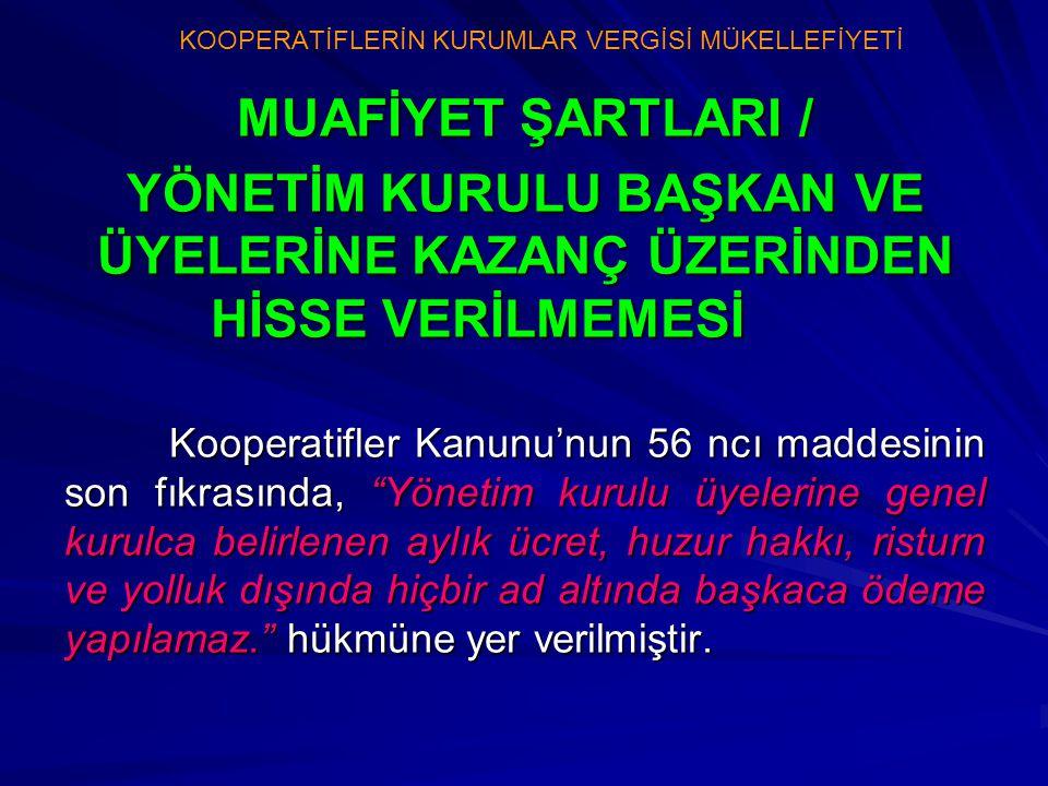 """MUAFİYET ŞARTLARI / YÖNETİM KURULU BAŞKAN VE ÜYELERİNE KAZANÇ ÜZERİNDEN HİSSE VERİLMEMESİ Kooperatifler Kanunu'nun 56 ncı maddesinin son fıkrasında, """""""