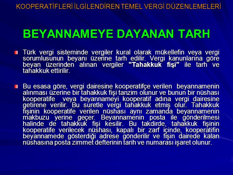 KOOPERATİFLERİ İLGİLENDİREN TEMEL VERGİ DÜZENLEMELERİ BEYANNAMEYE DAYANAN TARH Türk vergi sisteminde vergiler kural olarak mükellefin veya vergi sorum