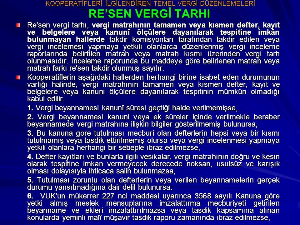 KOOPERATİFLERİN DİĞER VERGİLER KARŞISINDAKİ DURUMU BİNA VERGİSİ / DAİMİ MUAFLIKLAR Tarım kredi, tarım satış kooperatifleri, 1163 sayılı Kooperatifler Kanunu'na uygun olarak teşekkül eden kooperatifler, bu kooperatiflerin kurdukları kooperatif birlikleri, kooperatif merkez birlikleri, Türkiye Milli Kooperatifler Birliği ve Türk Kooperatifçilik Kurumu sahip oldukları kendi hizmet binaları ile ilgili olarak emlak vergisinden muaftırlar.