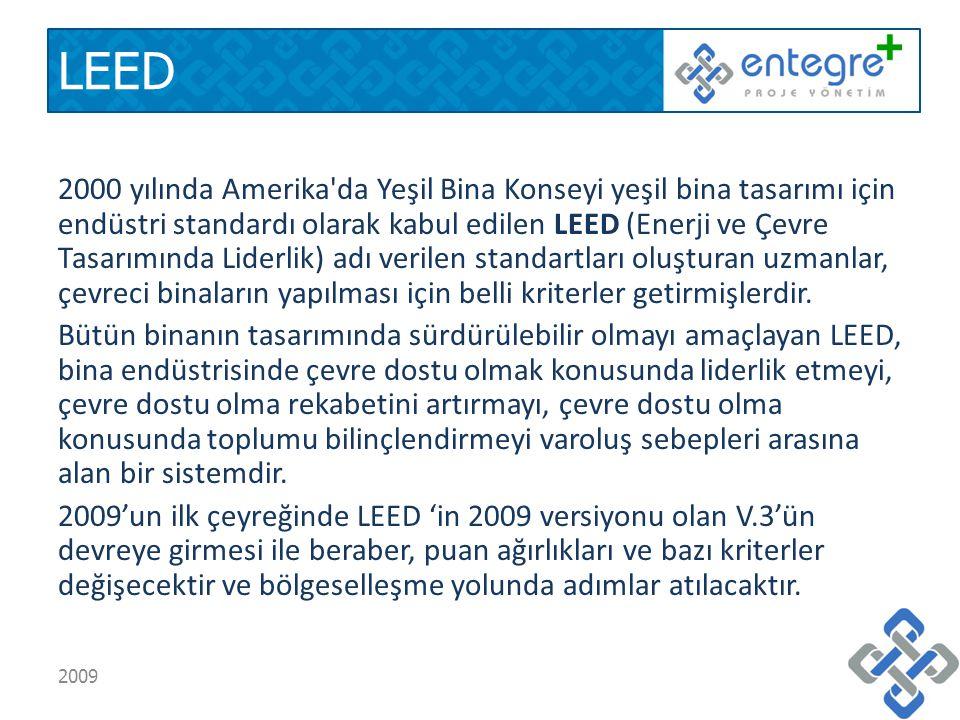 LEED 2000 yılında Amerika da Yeşil Bina Konseyi yeşil bina tasarımı için endüstri standardı olarak kabul edilen LEED (Enerji ve Çevre Tasarımında Liderlik) adı verilen standartları oluşturan uzmanlar, çevreci binaların yapılması için belli kriterler getirmişlerdir.