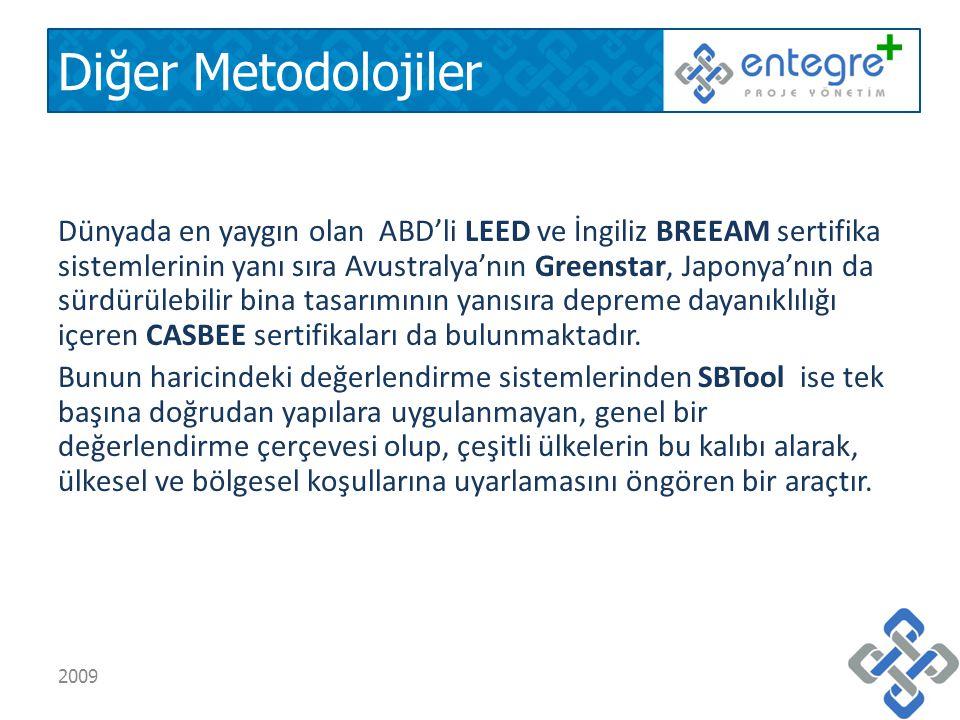 Diğer Metodolojiler Dünyada en yaygın olan ABD'li LEED ve İngiliz BREEAM sertifika sistemlerinin yanı sıra Avustralya'nın Greenstar, Japonya'nın da sürdürülebilir bina tasarımının yanısıra depreme dayanıklılığı içeren CASBEE sertifikaları da bulunmaktadır.