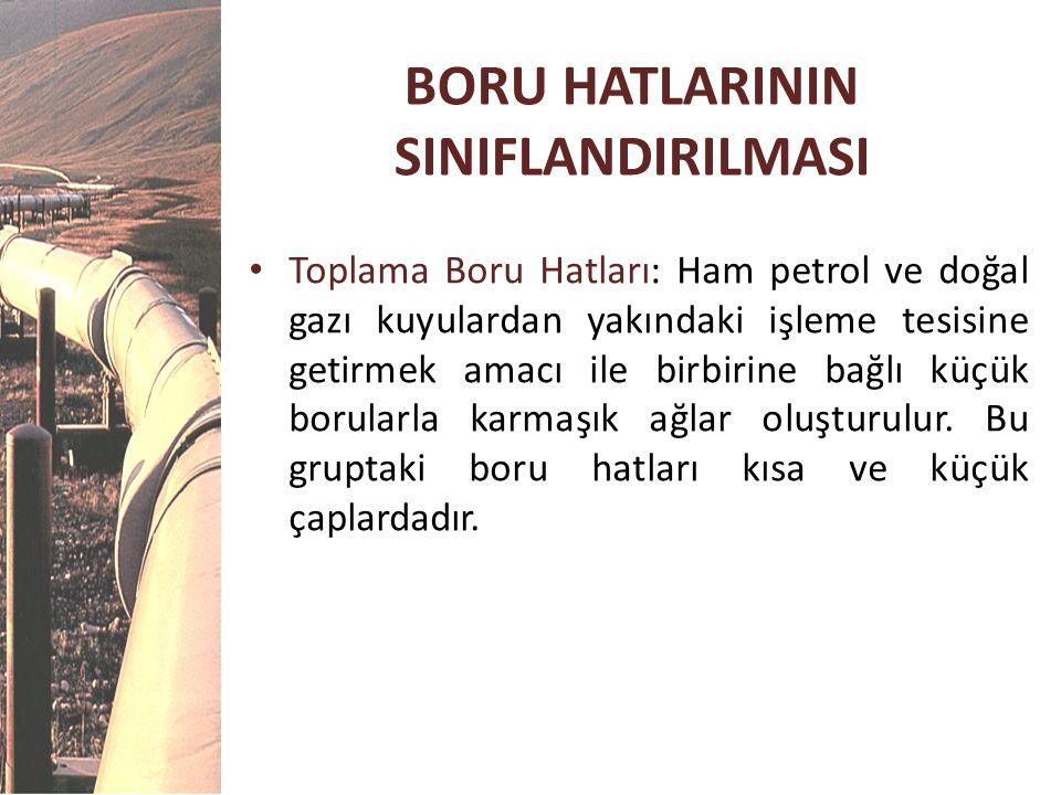 BORU HATLARININ SINIFLANDIRILMASI • Toplama Boru Hatları: Ham petrol ve doğal gazı kuyulardan yakındaki işleme tesisine getirmek amacı ile birbirine b