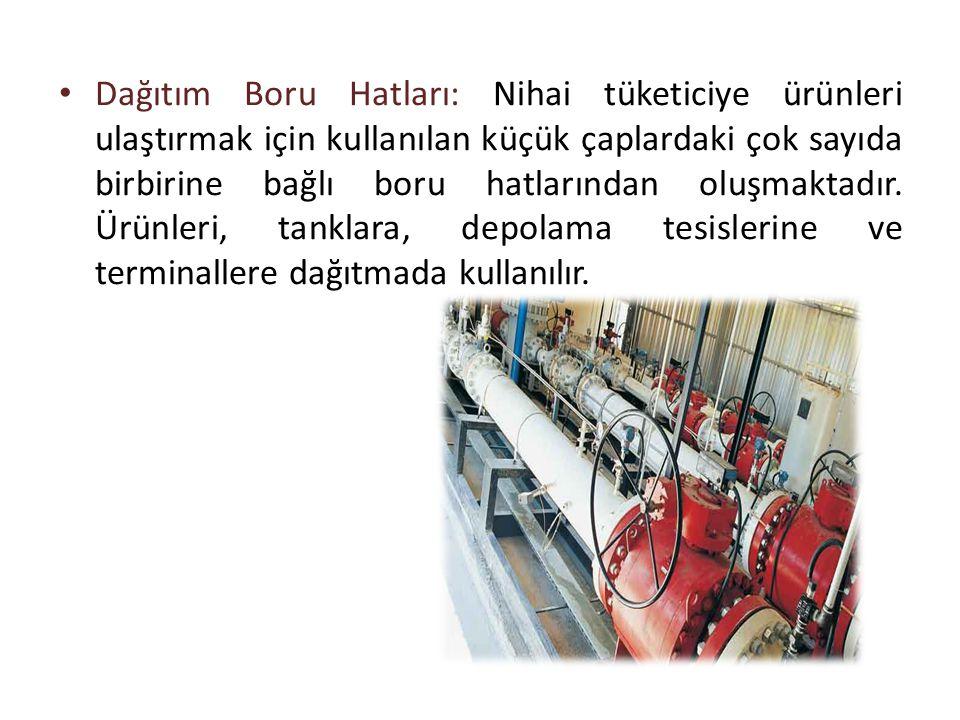 • Dağıtım Boru Hatları: Nihai tüketiciye ürünleri ulaştırmak için kullanılan küçük çaplardaki çok sayıda birbirine bağlı boru hatlarından oluşmaktadır