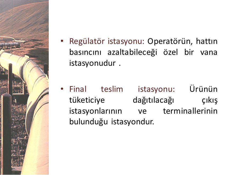 • Regülatör istasyonu: Operatörün, hattın basıncını azaltabileceği özel bir vana istasyonudur. • Final teslim istasyonu: Ürünün tüketiciye dağıtılacağ