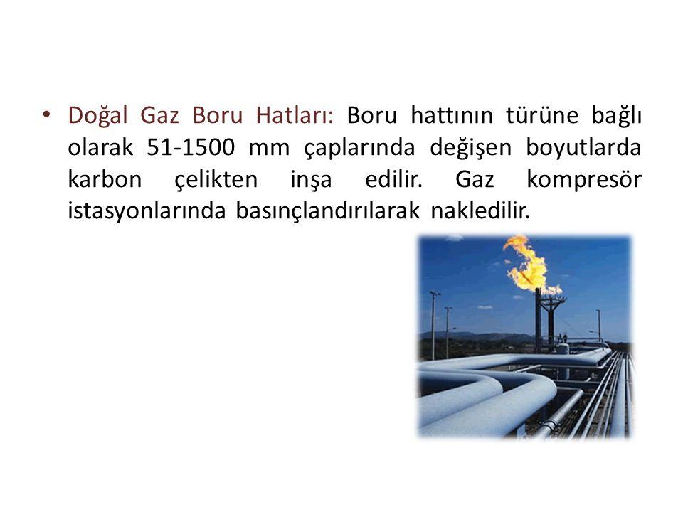 • Doğal Gaz Boru Hatları: Boru hattının türüne bağlı olarak 51-1500 mm çaplarında değişen boyutlarda karbon çelikten inşa edilir. Gaz kompresör istasy