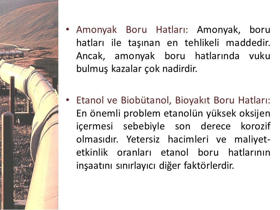 • Amonyak Boru Hatları: Amonyak, boru hatları ile taşınan en tehlikeli maddedir. Ancak, amonyak boru hatlarında vuku bulmuş kazalar çok nadirdir. • Et