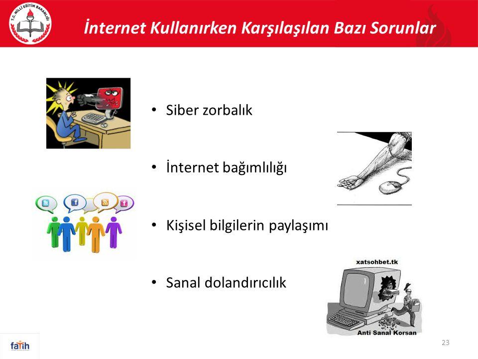 23 İnternet Kullanırken Karşılaşılan Bazı Sorunlar • Siber zorbalık • İnternet bağımlılığı • Kişisel bilgilerin paylaşımı • Sanal dolandırıcılık