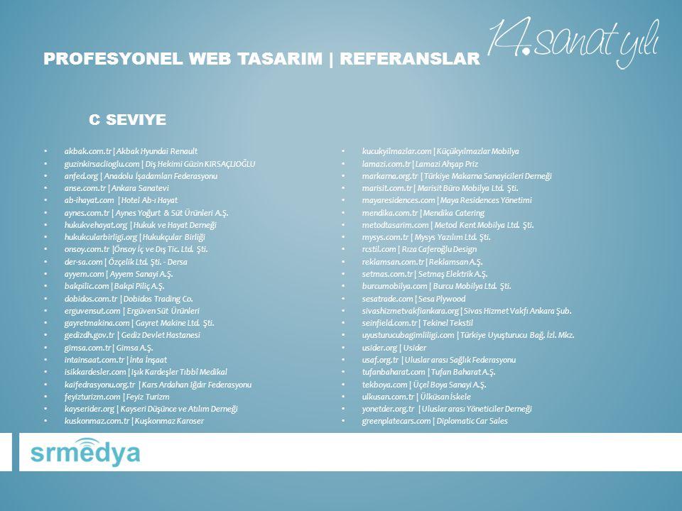PROFESYONEL WEB TASARIM | REFERANSLAR • kucukyilmazlar.com | Küçükyılmazlar Mobilya • lamazi.com.tr | Lamazi Ahşap Priz • markarna.org.tr | Türkiye Ma