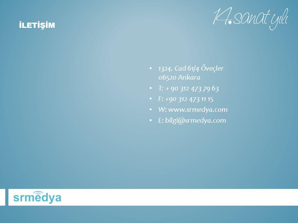 • 1324. Cad 61/4 Öveçler 06520 Ankara • T: + 90 312 473 79 63 • F: +90 312 473 11 15 • W: www.srmedya.com • E: bilgi@srmedya.com İLETİŞİM