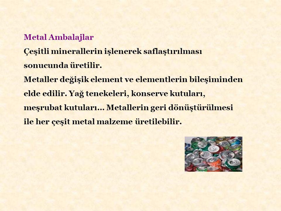 Metal Ambalajlar Çeşitli minerallerin işlenerek saflaştırılması sonucunda üretilir. Metaller değişik element ve elementlerin bileşiminden elde edilir.