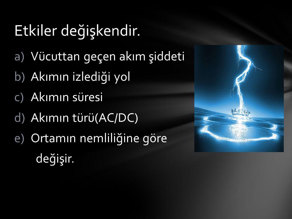 a)Vücuttan geçen akım şiddeti b)Akımın izlediği yol c)Akımın süresi d)Akımın türü(AC/DC) e)Ortamın nemliliğine göre değişir. Etkiler değişkendir.