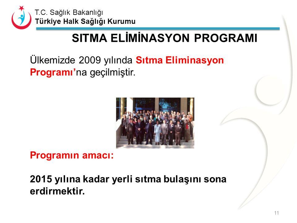 T.C. Sağlık Bakanlığı Türkiye Halk Sağlığı Kurumu SITMA ELİMİNASYON PROGRAMI 11 Ülkemizde 2009 yılında Sıtma Eliminasyon Programı'na geçilmiştir. Prog