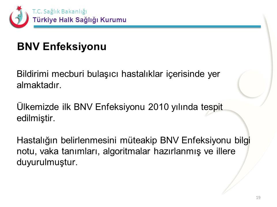 T.C. Sağlık Bakanlığı Türkiye Halk Sağlığı Kurumu Bildirimi mecburi bulaşıcı hastalıklar içerisinde yer almaktadır. Ülkemizde ilk BNV Enfeksiyonu 2010