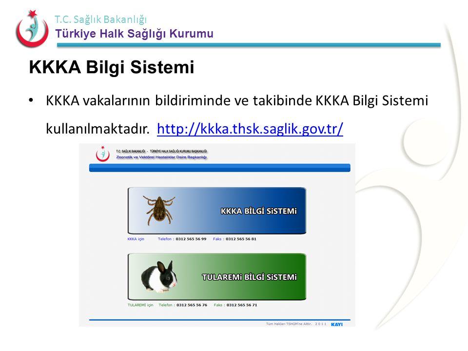 T.C. Sağlık Bakanlığı Türkiye Halk Sağlığı Kurumu KKKA Bilgi Sistemi • KKKA vakalarının bildiriminde ve takibinde KKKA Bilgi Sistemi kullanılmaktadır.