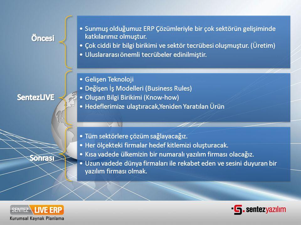 •Sunmuş olduğumuz ERP Çözümleriyle bir çok sektörün gelişiminde katkılarımız olmuştur. •Çok ciddi bir bilgi birikimi ve sektör tecrübesi oluşmuştur. (