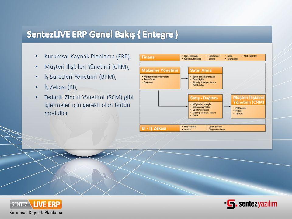• Kurumsal Kaynak Planlama (ERP), • Müşteri İlişkileri Yönetimi (CRM), • İş Süreçleri Yönetimi (BPM), • İş Zekası (BI), • Tedarik Zinciri Yönetimi (SC