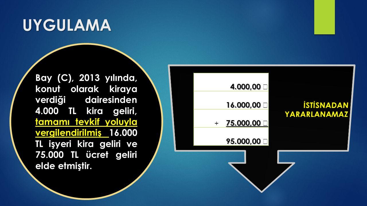 UYGULAMA Bay (C), 2013 yılında, konut olarak kiraya verdiği dairesinden 4.000 TL kira geliri, tamamı tevkif yoluyla vergilendirilmiş 16.000 TL işyeri