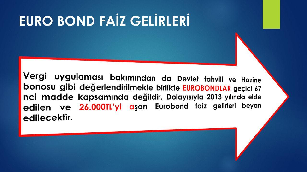 EURO BOND FAİZ GELİRLERİ