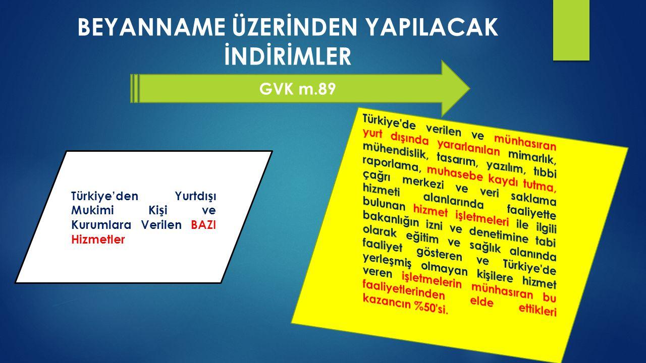 BEYANNAME ÜZERİNDEN YAPILACAK İNDİRİMLER GVK m.89 Türkiye'den Yurtdışı Mukimi Kişi ve Kurumlara Verilen BAZI Hizmetler