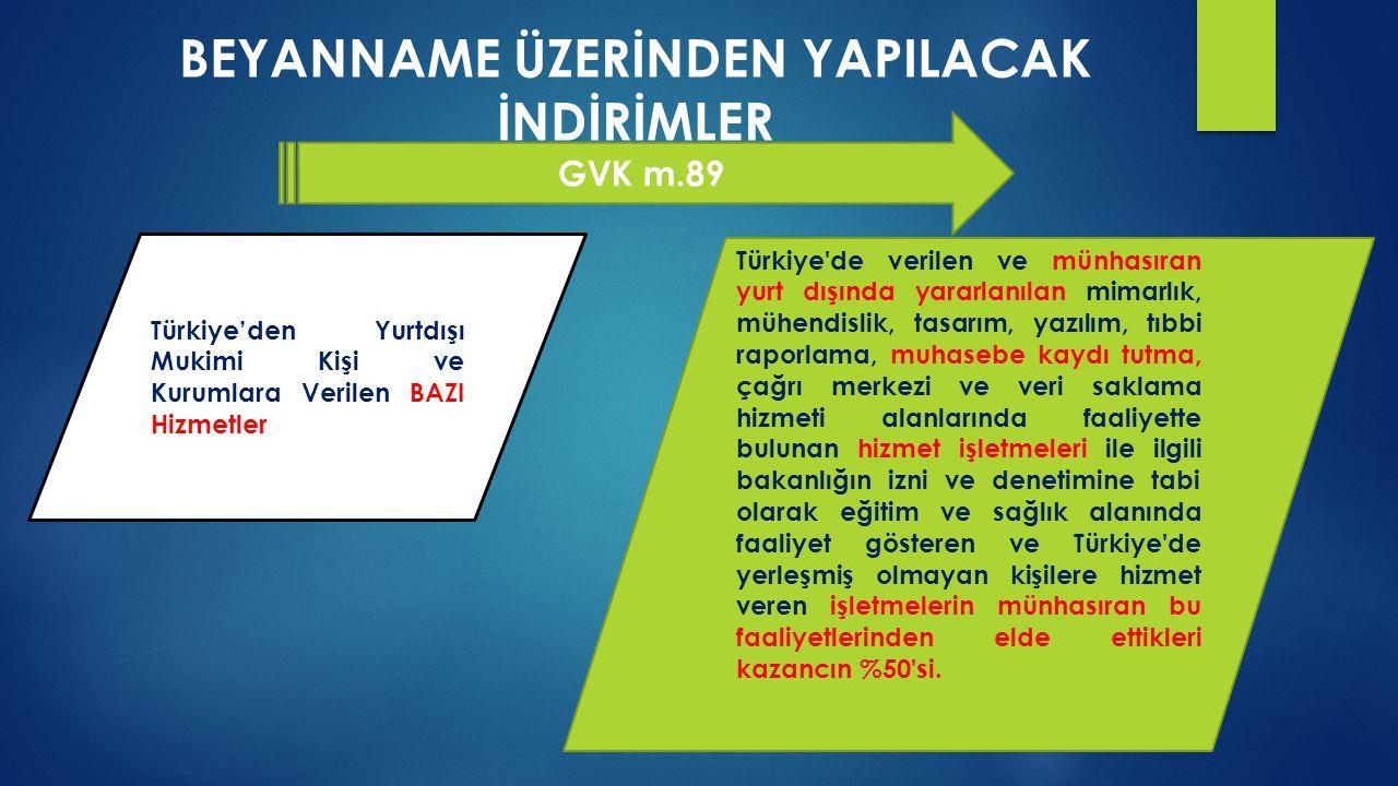 BEYANNAME ÜZERİNDEN YAPILACAK İNDİRİMLER GVK m.89 Türkiye'den Yurtdışı Mukimi Kişi ve Kurumlara Verilen BAZI Hizmetler Türkiye'de verilen ve münhasıra