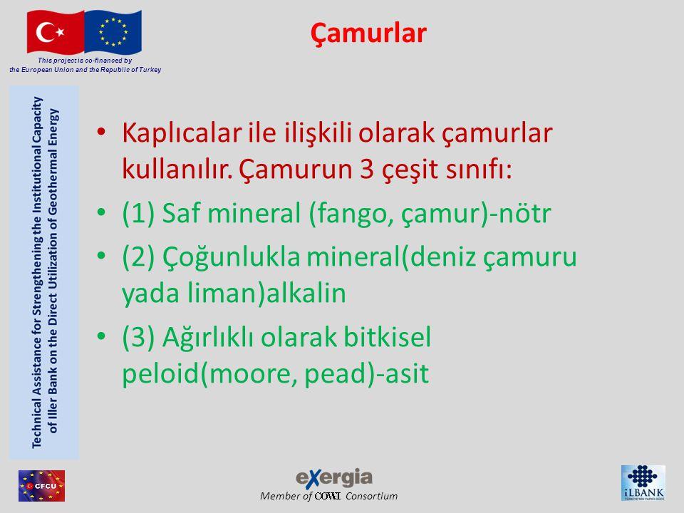 Member of Consortium This project is co-financed by the European Union and the Republic of Turkey Çamurların cilt üzerindeki etkileri • Vücut sıcaklığını arttırır, • Kan basıncını düşürür, • Mineral metabolizma ve kan kimyası üzerindeki etkisi.