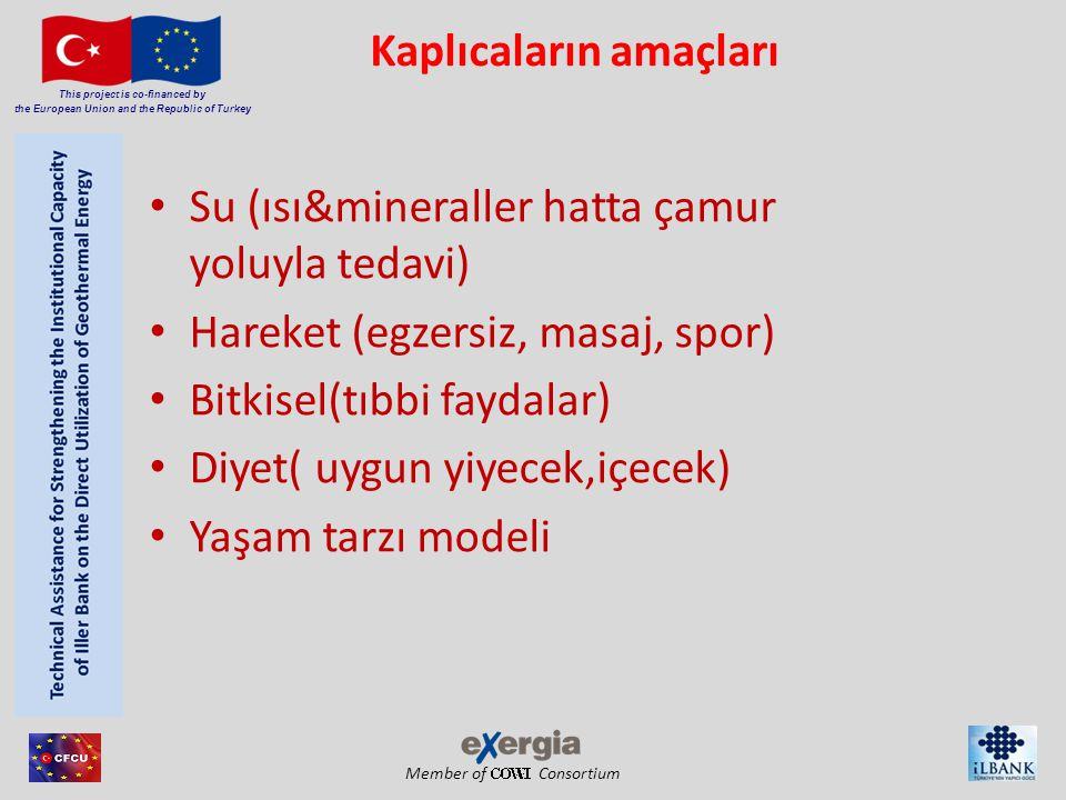 Member of Consortium This project is co-financed by the European Union and the Republic of Turkey Kaplıcaların amaçları • Su (ısı&mineraller hatta çam