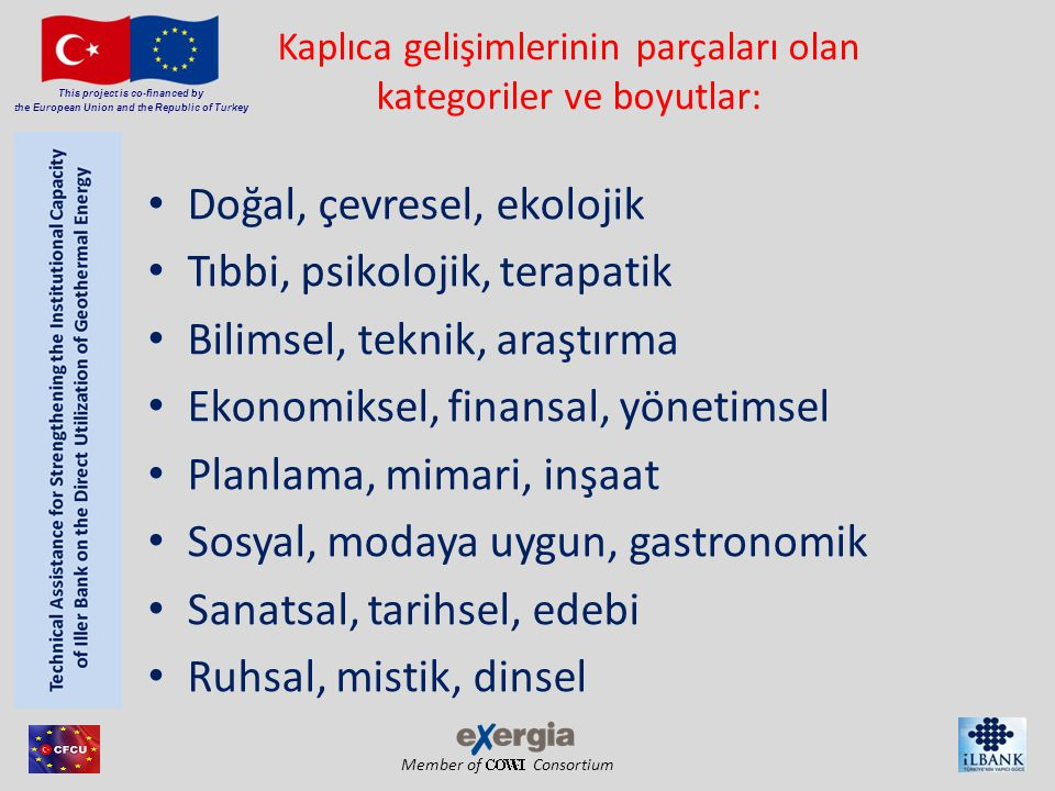 Member of Consortium This project is co-financed by the European Union and the Republic of Turkey Kaplıca gelişimlerinin parçaları olan kategoriler ve