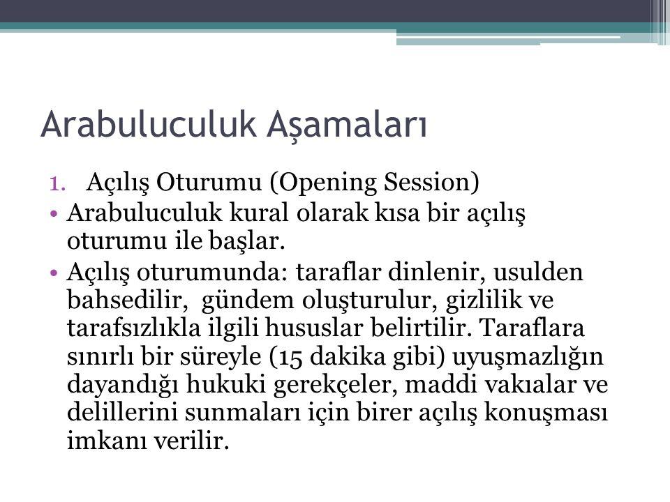 Arabuluculuk Aşamaları 1.Açılış Oturumu (Opening Session) •Arabuluculuk kural olarak kısa bir açılış oturumu ile başlar.