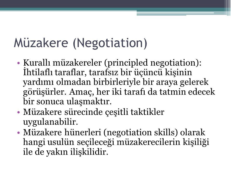 Müzakere (Negotiation) •Müzakerecilerin kişisel yapılarına göre değişir.