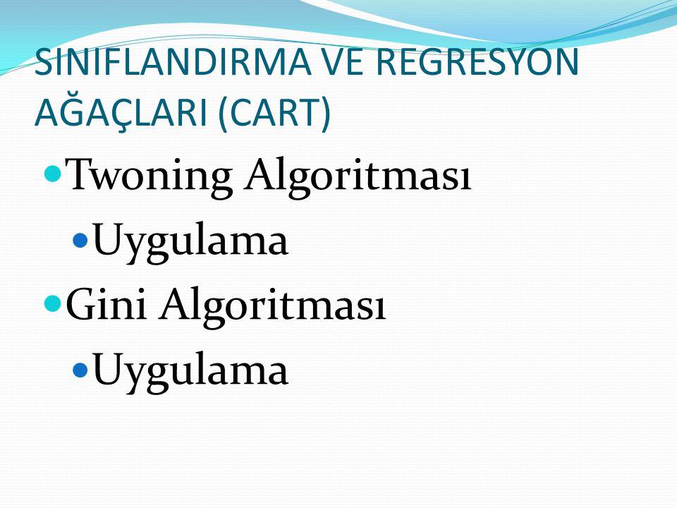 SINIFLANDIRMA VE REGRESYON AĞAÇLARI (CART)  Twoning Algoritması  Uygulama  Gini Algoritması  Uygulama