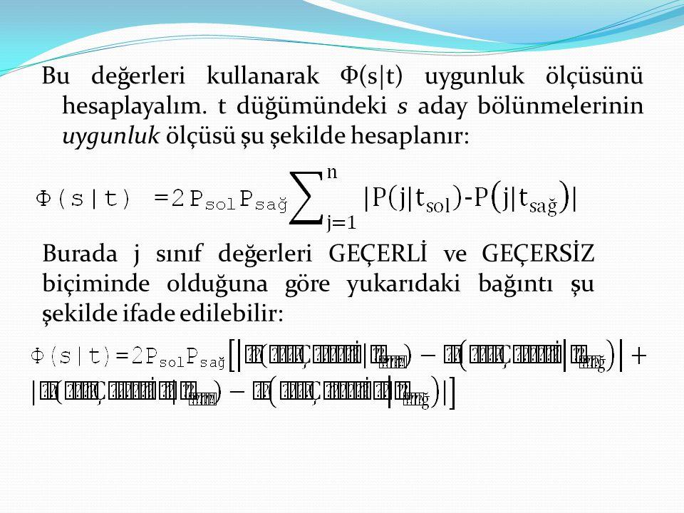 Bu değerleri kullanarak Ф(s t) uygunluk ölçüsünü hesaplayalım. t düğümündeki s aday bölünmelerinin uygunluk ölçüsü şu şekilde hesaplanır: Burada j sın