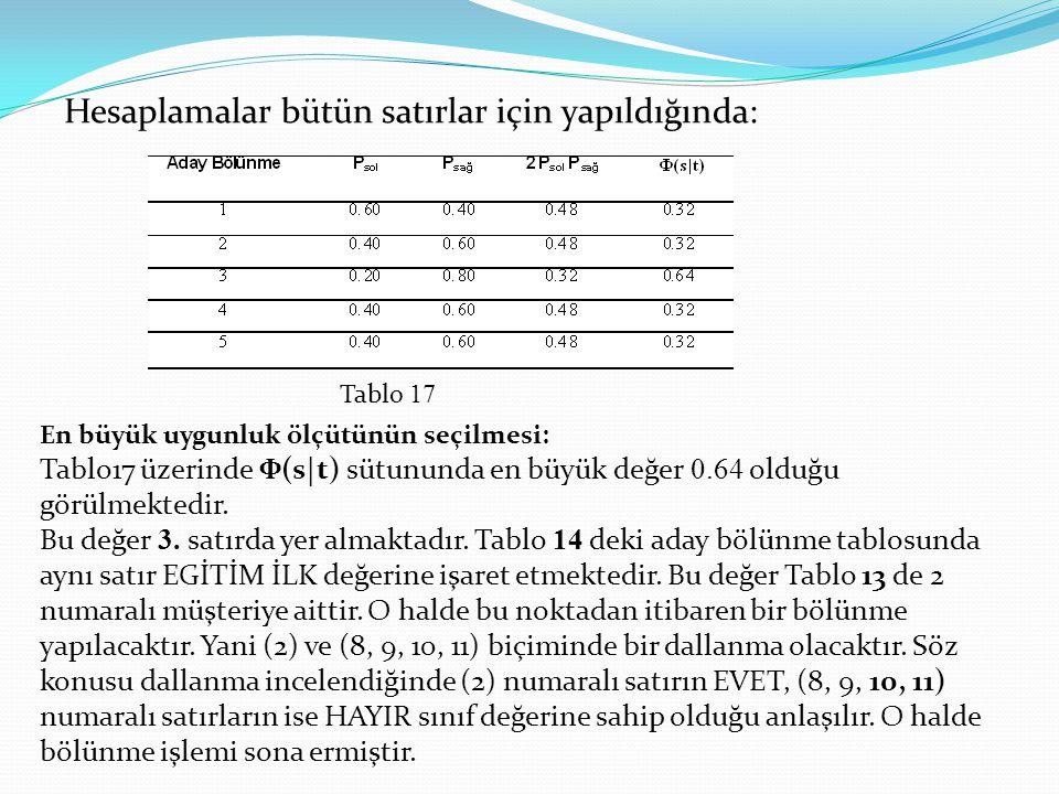 Hesaplamalar bütün satırlar için yapıldığında: Tablo 17 En büyük uygunluk ölçütünün seçilmesi: Tablo17 üzerinde Ф(s t) sütununda en büyük değer 0.64 o