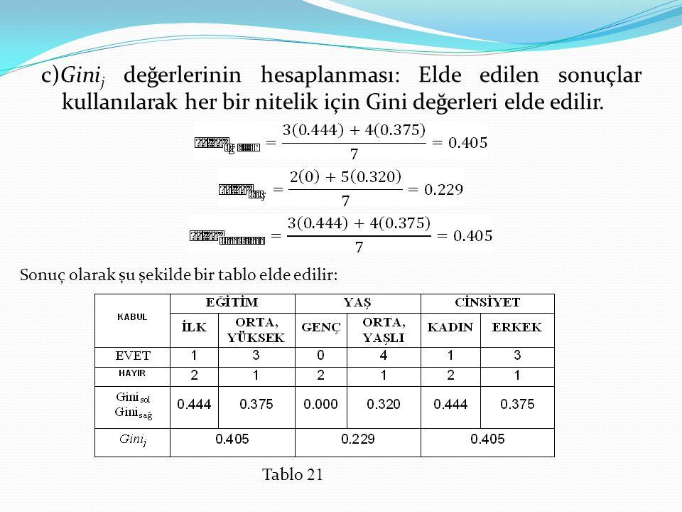 c)Gini j değerlerinin hesaplanması: Elde edilen sonuçlar kullanılarak her bir nitelik için Gini değerleri elde edilir. Sonuç olarak şu şekilde bir tab