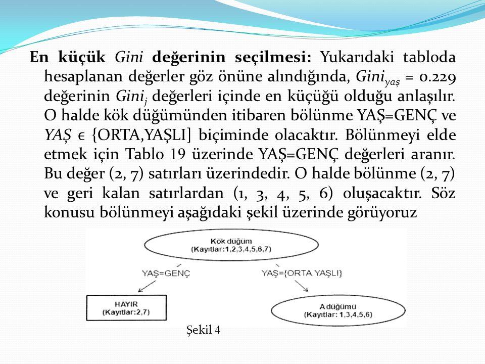 En küçük Gini değerinin seçilmesi: Yukarıdaki tabloda hesaplanan değerler göz önüne alındığında, Gini yaş = 0.229 değerinin Gini j değerleri içinde en