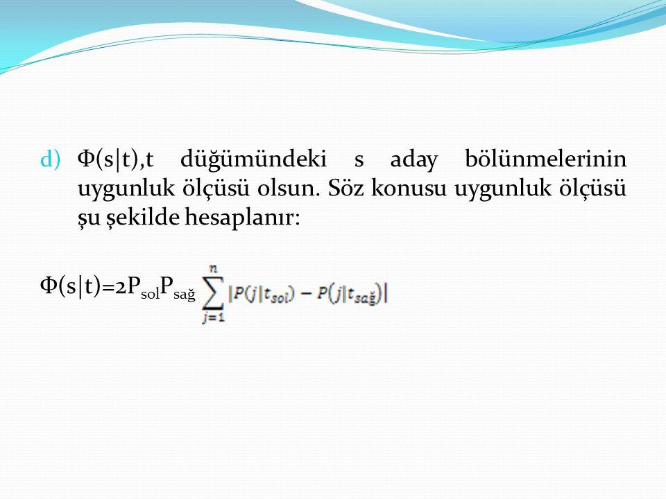 d) Ф(s t),t düğümündeki s aday bölünmelerinin uygunluk ölçüsü olsun. Söz konusu uygunluk ölçüsü şu şekilde hesaplanır: Ф(s t)=2P sol P sağ