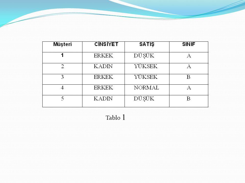 b) Gini sol ve Gini sağ değerlerinin hesaplanması: Tablo değerlerini kullanarak aşağıdaki hesaplamalar yapılabilir.