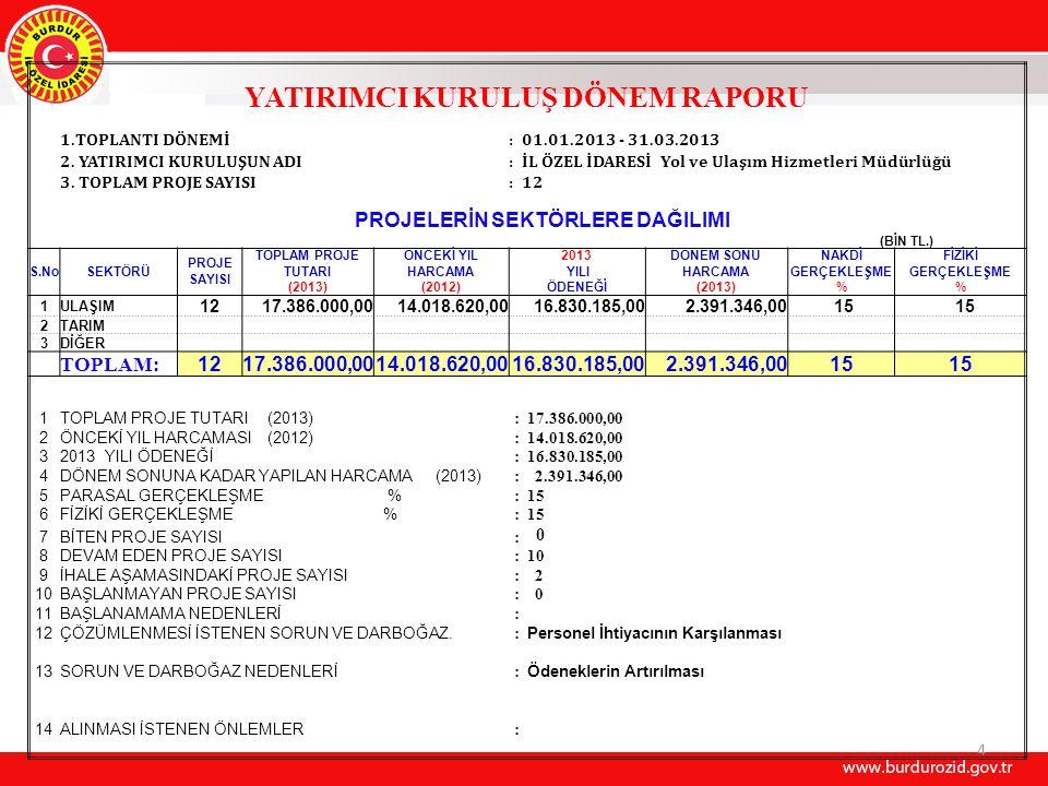 4 YATIRIMCI KURULUŞ DÖNEM RAPORU 1.TOPLANTI DÖNEMİ:01.01.2013 - 31.03.2013 2.