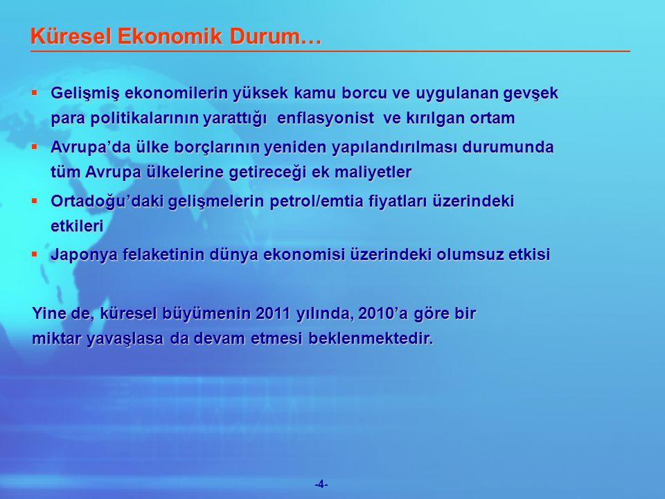 -5- Reel Büyüme,% TÜFE,% yıl sonu Bütçe açığı/GSMH,% Cari Denge/GSMH,% 8.94.5 6.406.90 (3.5)(2.8) (6.5)(5.4) 20102011T(1)(1) (2) (2) TCMB Beklentı Anketi (1) DPT Orta Vadeli Program Uygulanan para ve mali politikaların sonuçları tam netleşmemekle birlikte, Türkiye büyüyen ekonomisi ile cazip bir pazar olmayı sürdürecektir.