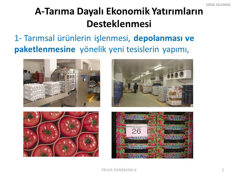 A-Tarıma Dayalı Ekonomik Yatırımların Desteklenmesi 1- Tarımsal ürünlerin işlenmesi, depolanması ve paketlenmesine yönelik yeni tesislerin yapımı, PRU