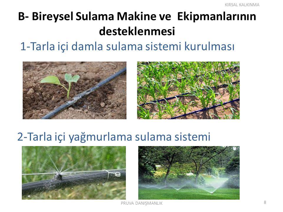 B- Bireysel Sulama Makine ve Ekipmanlarının desteklenmesi 1-Tarla içi damla sulama sistemi kurulması 2-Tarla içi yağmurlama sulama sistemi KIRSAL KALKINMA 8 PRUVA DANIŞMANLIK