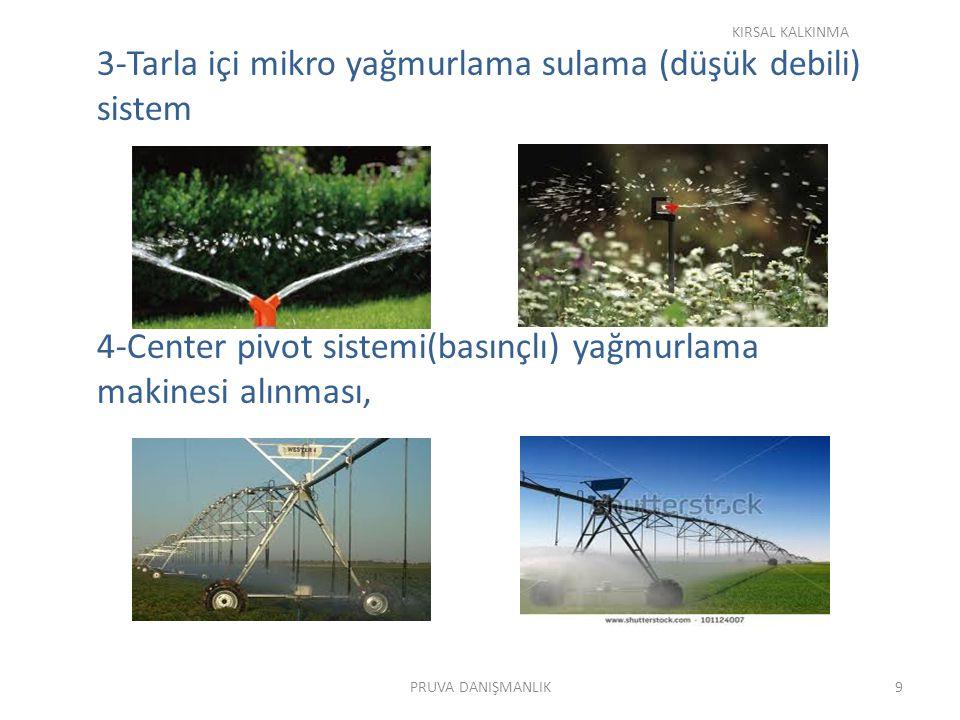 3-Tarla içi mikro yağmurlama sulama (düşük debili) sistem 4-Center pivot sistemi(basınçlı) yağmurlama makinesi alınması, KIRSAL KALKINMA 9PRUVA DANIŞMANLIK