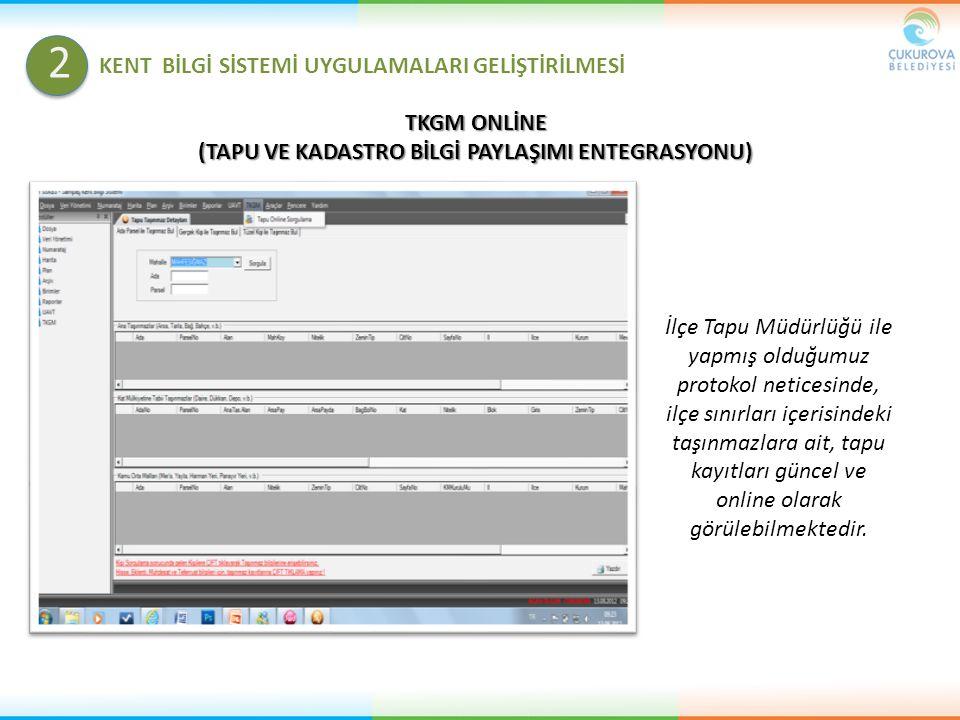 TKGM ONLİNE (TAPU VE KADASTRO BİLGİ PAYLAŞIMI ENTEGRASYONU) İlçe Tapu Müdürlüğü ile yapmış olduğumuz protokol neticesinde, ilçe sınırları içerisindeki