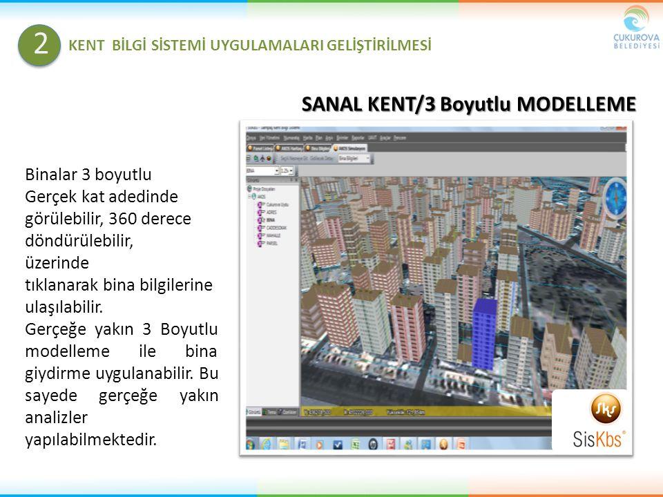 SANAL KENT/3 Boyutlu MODELLEME Binalar 3 boyutlu Gerçek kat adedinde görülebilir, 360 derece döndürülebilir, üzerinde tıklanarak bina bilgilerine ulaş