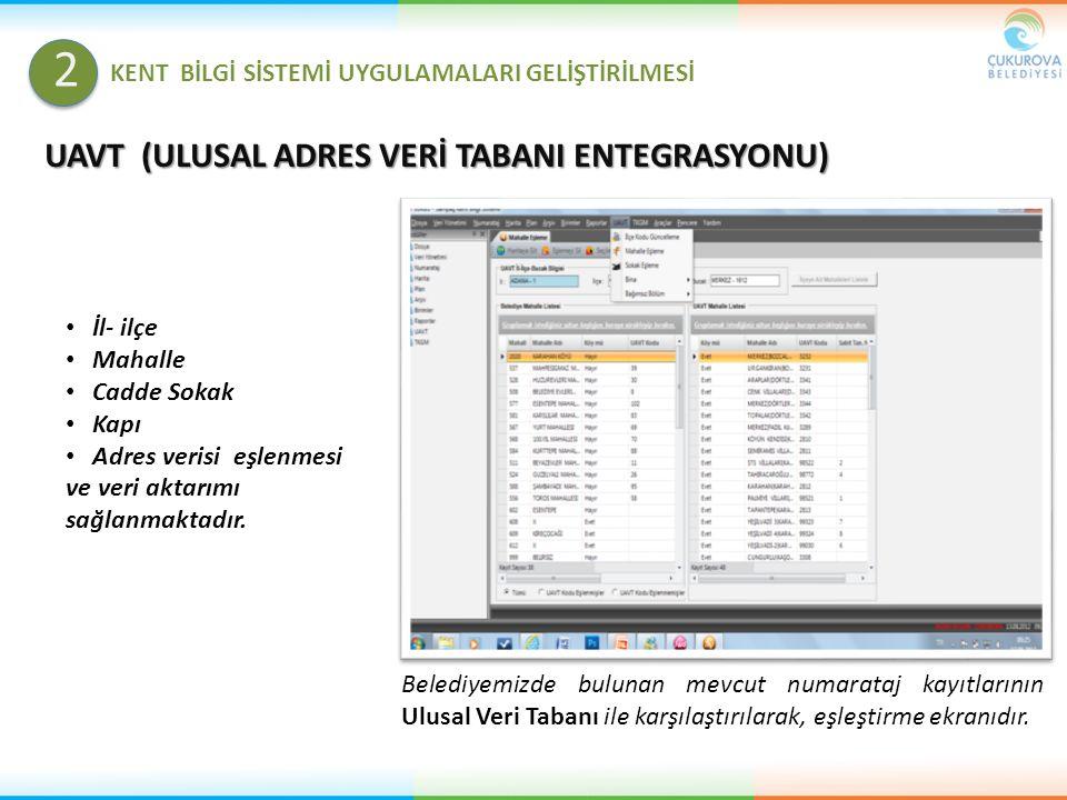 UAVT (ULUSAL ADRES VERİ TABANI ENTEGRASYONU) Belediyemizde bulunan mevcut numarataj kayıtlarının Ulusal Veri Tabanı ile karşılaştırılarak, eşleştirme