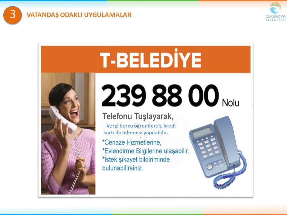 3 - Vergi borcu öğrenilerek, kredi kartı ile ödemesi yapılabilir,