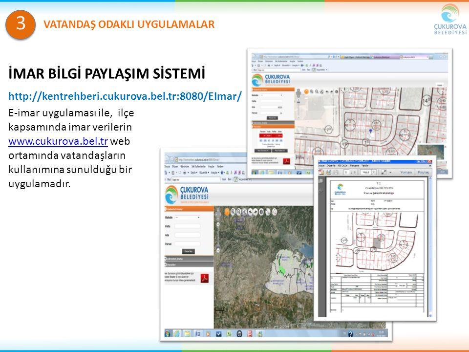 http://kentrehberi.cukurova.bel.tr:8080/EImar/ E-imar uygulaması ile, ilçe kapsamında imar verilerin www.cukurova.bel.tr web ortamında vatandaşların k