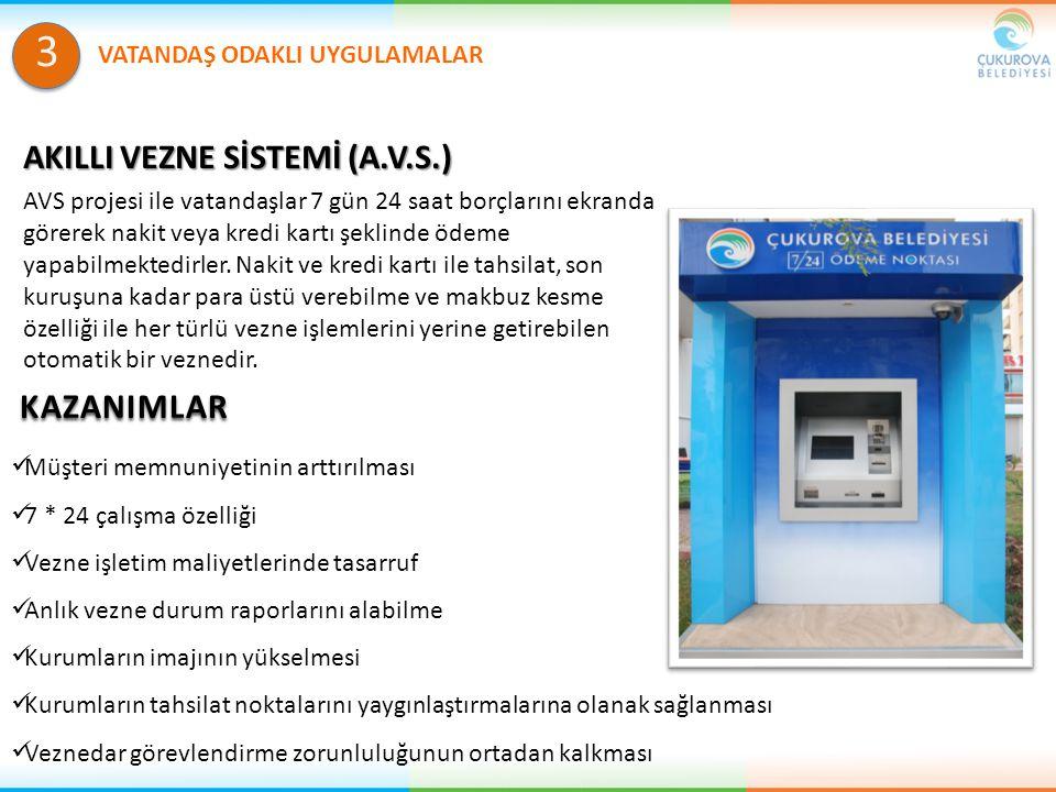 AKILLI VEZNE SİSTEMİ (A.V.S.) AVS projesi ile vatandaşlar 7 gün 24 saat borçlarını ekranda görerek nakit veya kredi kartı şeklinde ödeme yapabilmekted
