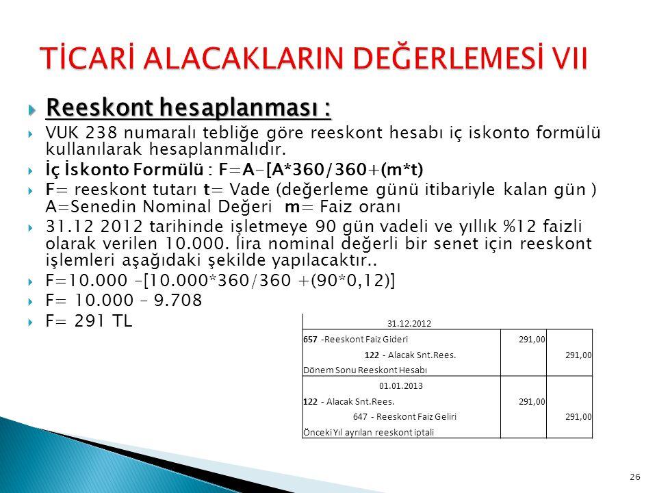  Reeskont hesaplanması :  VUK 238 numaralı tebliğe göre reeskont hesabı iç iskonto formülü kullanılarak hesaplanmalıdır.  İç İskonto Formülü : F=A-