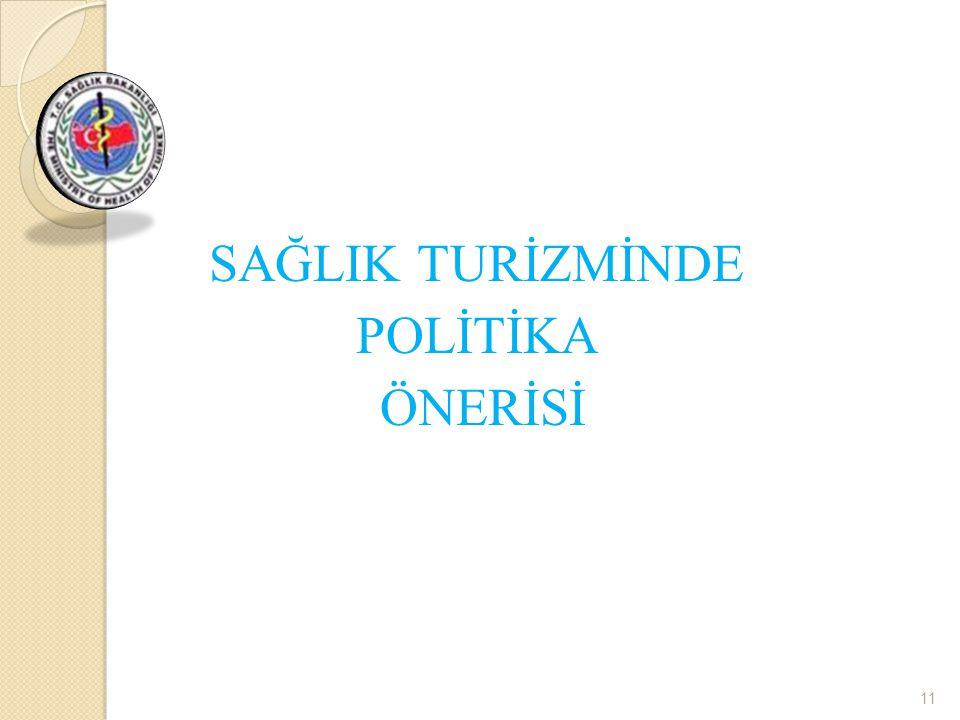 SAĞLIK TURİZMİNDE POLİTİKA ÖNERİSİ 11